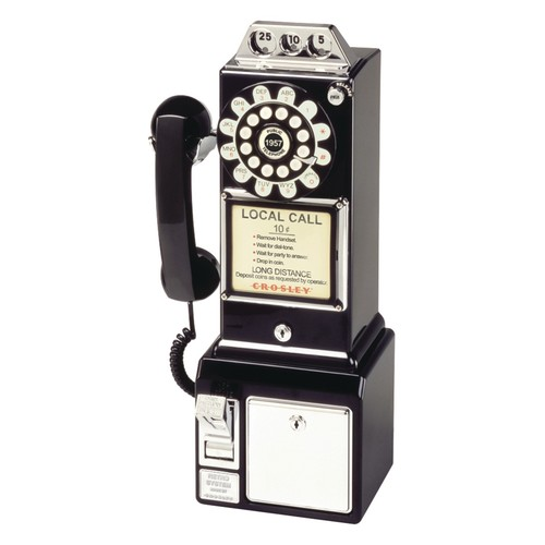 Crosley CR56-BK 1950's Payphone with Push Button Technology, Black [Black]