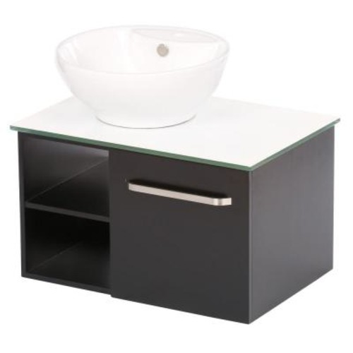 Sheffield Home Palma 27.5 in. Vanity in Dark Wenge with Vitreous China Vanity Top in White and Mirror