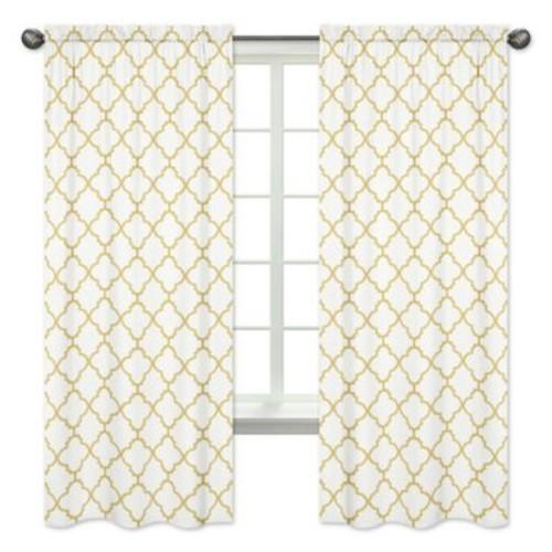 Sweet Jojo Designs Trellis 84-Inch Window Panels in White/Gold (Set of 2)
