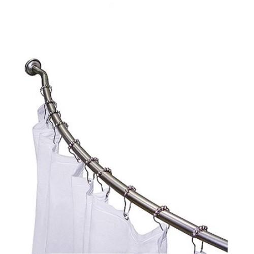 3 Piece Curved Shower Rod Set, Satin Nic