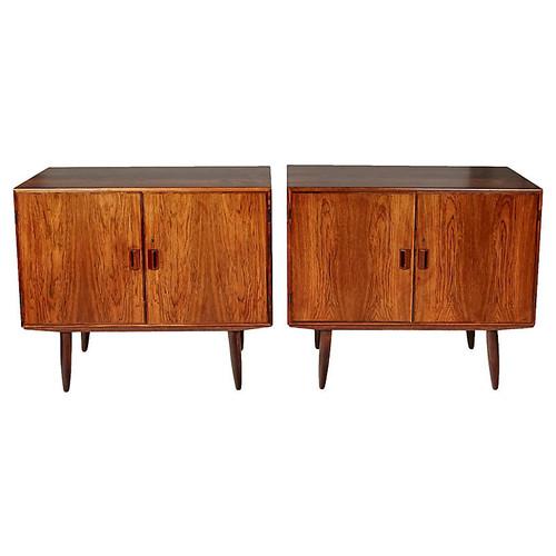 Danish Rosewood Storage Cabinets, Pair