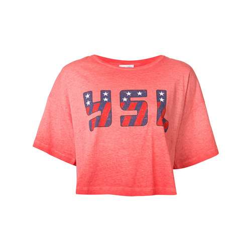 SAINT LAURENT Cropped Logo Print T-Shirt