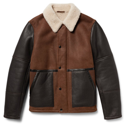 Theory - Parker Colour-Block Shearling Jacket
