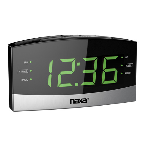 Naxa 97094545M Bluetooth Easy-Read Dual Alarm Clock with Daily Repeat and USB Charge Port