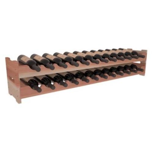Red Barrel Studio Karnes Redwood Scalloped 24 Bottle Tabletop Wine Rack; Natural