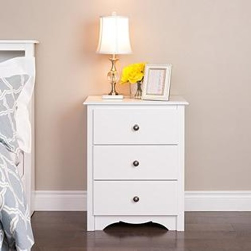 Prepac Monterey 3 Drawer Tall Nightstand in White