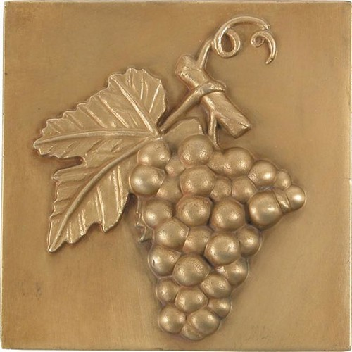 Grape Antique Brass 4-inch Accent Tiles (Set of 4)