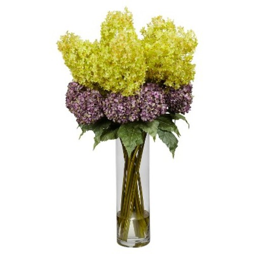 Nearly Natural 40 in. H Assorted Giant Mixed Hydrangea Silk Flower Arrangement