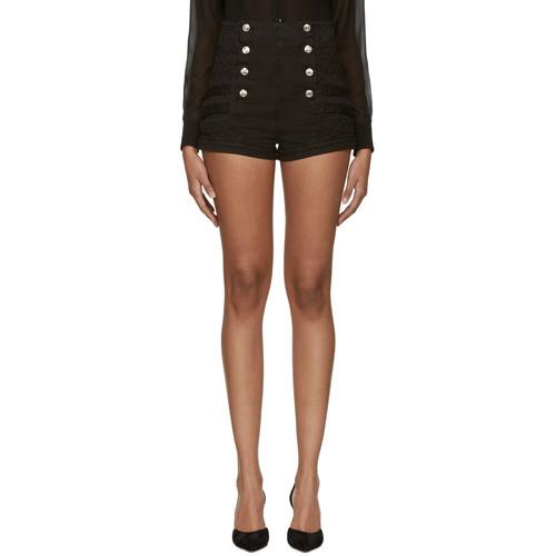 Black Denim Buttoned Shorts