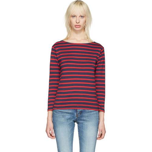 SAINT LAURENT Navy Striped Marlon T-Shirt