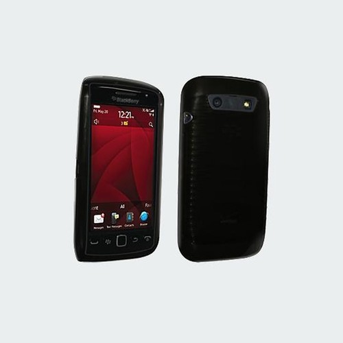 High Gloss Silicone Cover for BlackBerry Torch 9850 (Black)
