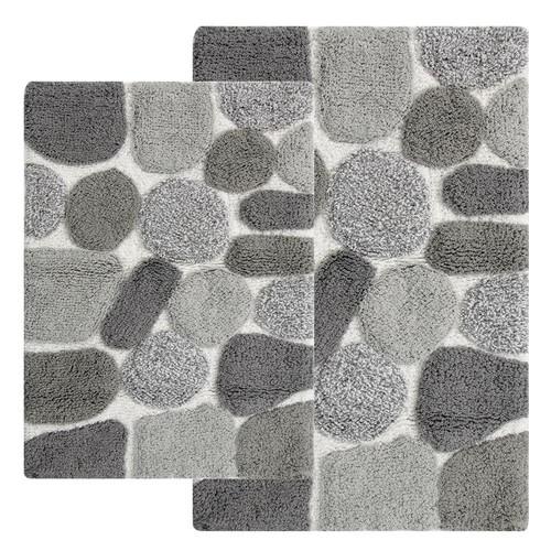 Chesapeake Merchandising Pebbles 20 in. x 40 in. 2-Piece Bath Rug Set in Grey