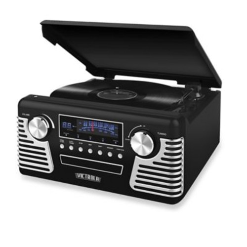 Victrola Retro Record Player Stereo with Bluetooth and USB Digital Encoding in Black