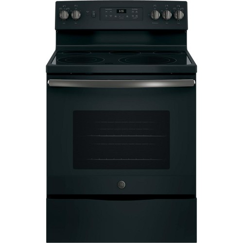GE 30 in. Free-Standing Electric Convection Range in Black Slate, Fingerprint Resistant