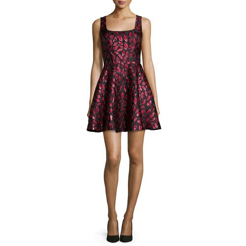 DIANE VON FURSTENBERG Sleeveless Minnie Midnight Kiss A-Line Dress, Oxblood/Black