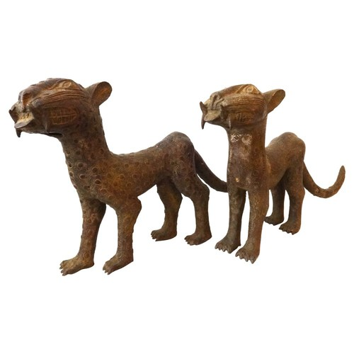 Ethnika Home Decor And Antiques African Bronze Leopards, Pair