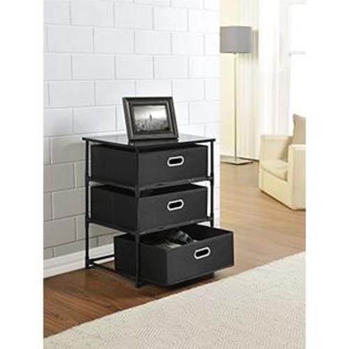Altra Furniture Altra Sidney 3 Bin Storage End Table, Black