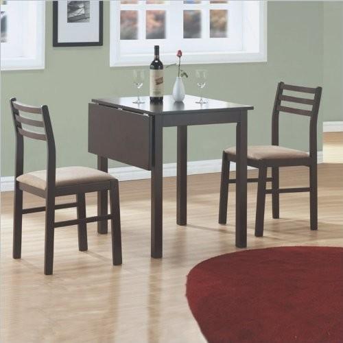 Monarch Specialties 3-Piece Solid-Top Drop Leaf Dining Set, Cappuccino [Cappuccino]