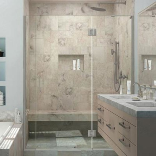 DreamLine Unidoor-X 59 in. to 59-1/2 in. x 72 in. Frameless Pivot Shower Door in Brushed Nickel