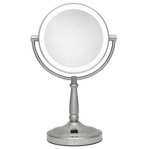 Zadro Cordless Dual-Sided LED Lighted Vanity Mirror, Satin Nickel
