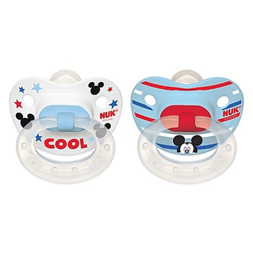 NUK Disney Mickey Mouse 2-Pack Orthodontic Pacifiers in White/Blue Multi