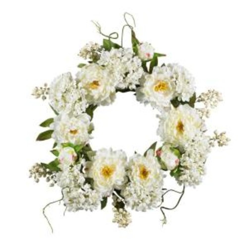 Nearly Natural 20 in. Peony Hydrangea Wreath