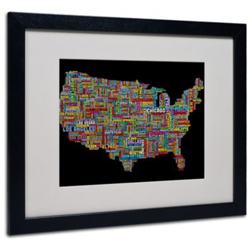 Michael Tompsett 'US Cities Text Map II' Matted Framed Art - 11x14 Inches - Wood Frame