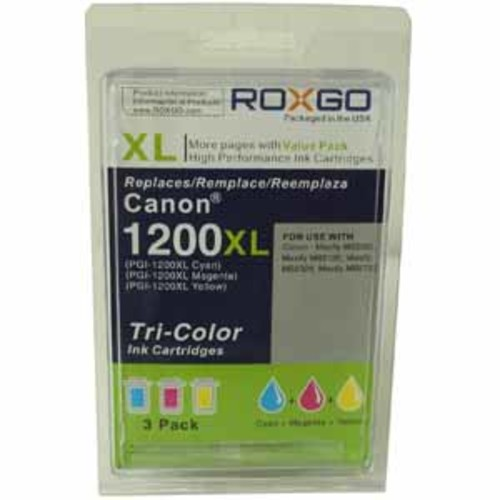 Roxgo Compatible Canon PGI-1200XL 9183B001 Cyan Magenta Yellow High Yield Ink Cartridge - 3 Pack