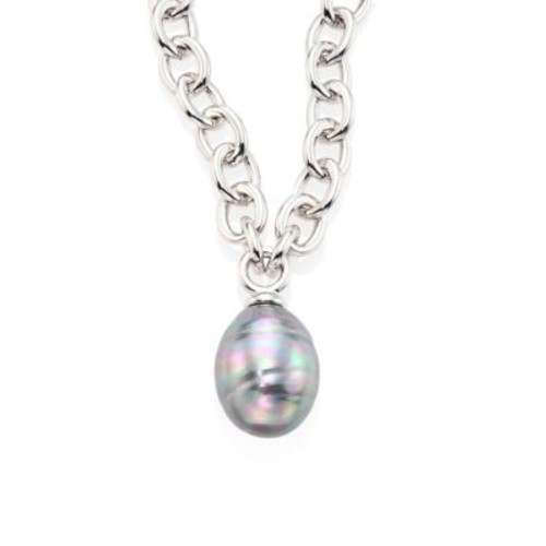 14MM Grey Baroque Pearl Pendant Necklace