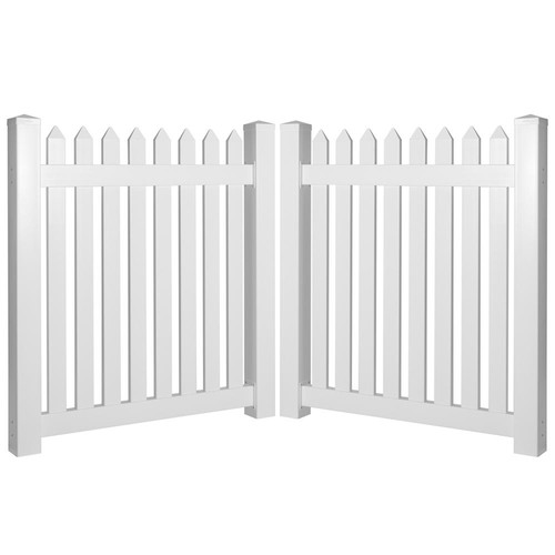 Weatherables Provincetown 8 ft. W x 5 ft. H White Vinyl Picket Fence Double Gate Kit
