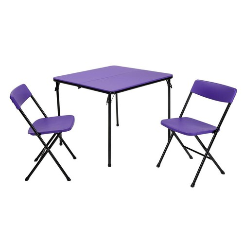 Cosco 3-Piece Purple Folding Table and Chair Set