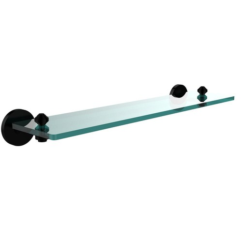 Allied Brass South Beach Collection 22 in. Glass Vanity Shelf with Beveled Edges in Matte Black