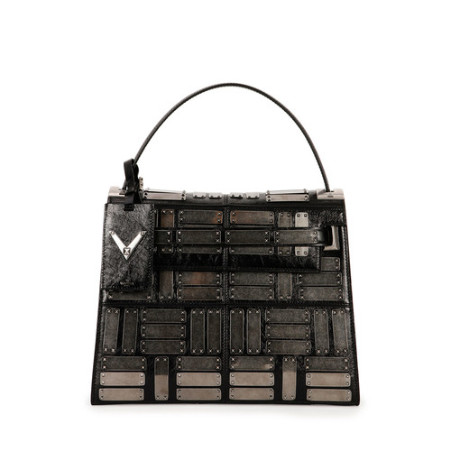 VALENTINO My Rockstud Leather Satchel Bag, Black