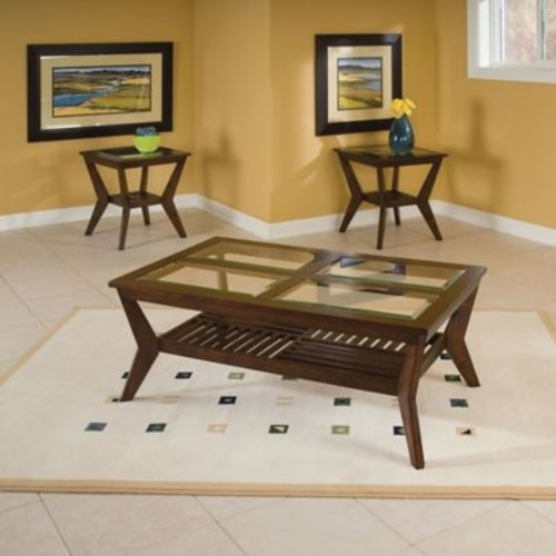 Standard Furniture Mfg. Norway 3-Piece Coffee Table and End Table Set in Merlot