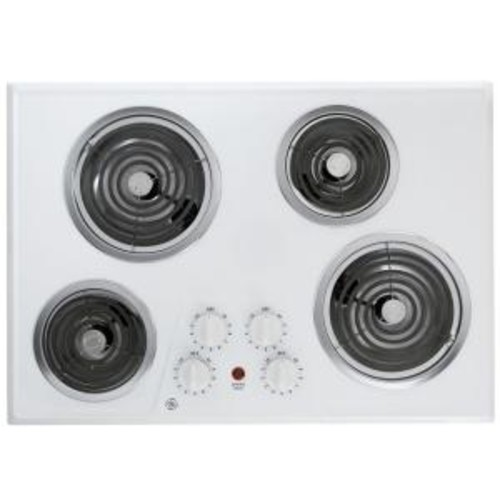 GE 30 in. Coil Electric Cooktop in White with 4 Elements