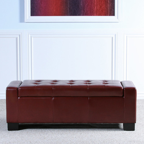 York Leather Storage Bench