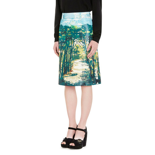 PRADA Woods Print Leather Skirt, Green