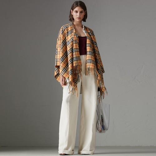Vintage Check Cashmere Wool Poncho