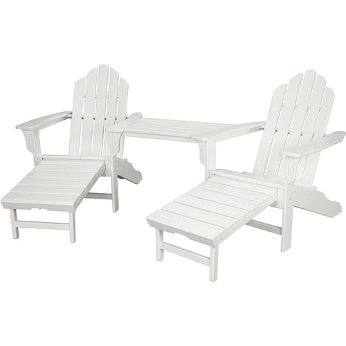 Hanover Rio White 3-Piece All-Weather Plastic Patio Lounge Adirondack Chair Set with Ottoman