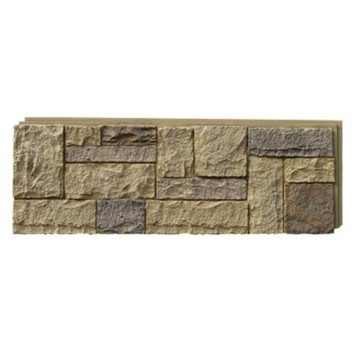 NextStone Castle Rock Windsor Buff 15.25 in. x 43.25 in. Faux Stone Siding Panel (4-Pack)