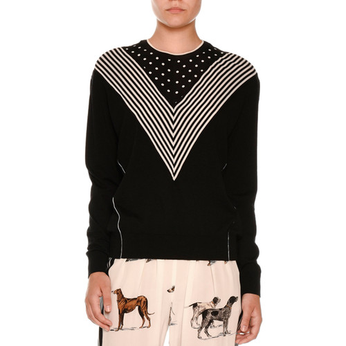 STELLA MCCARTNEY Long Sleeve Chevron-Striped Sweater, Black