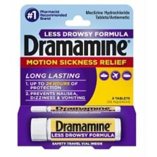 Dramamine Motion Sickness Relief Less Drowsey Formula Tablets 8 ea
