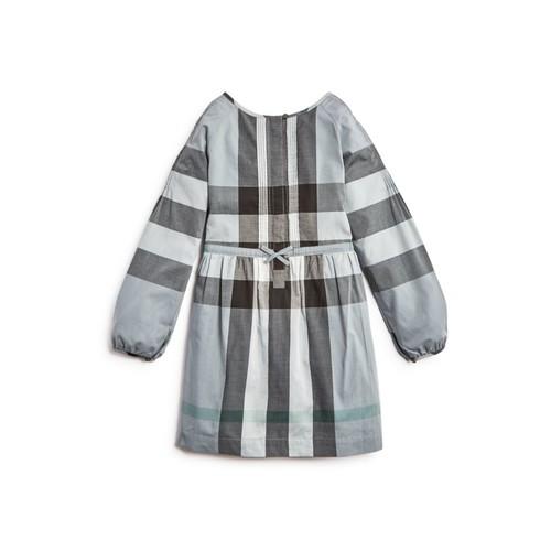 BURBERRY Girls' Drawstring Waist Check Dress - Big Kid