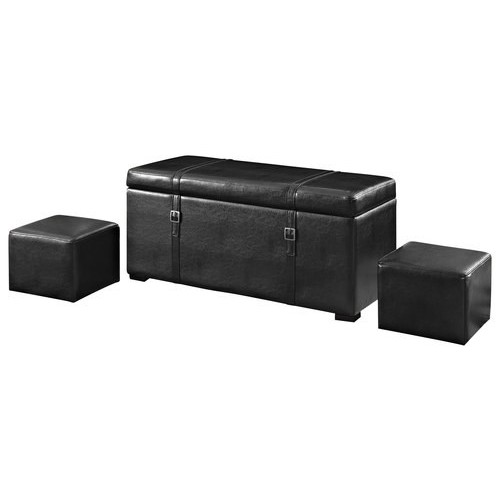 Simpli Home - Dorchester 5-Piece Rectangular Storage Ottoman Bench - Midnight Black