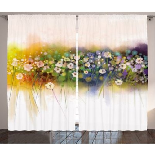 Verwood Watercolor Flower Graphic Print and Text Semi-Sheer Rod Pocket Curtain Panels (Set of 2)