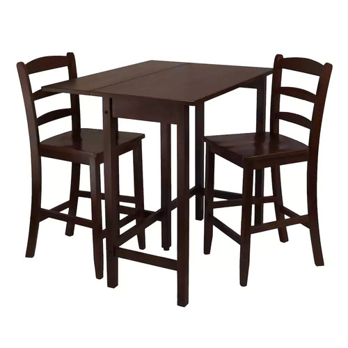 Winsome Lynnwood Drop Leaf High Table with 2 Counter Ladder Back Stool/Chair, 3-Piece [Antique Walnut]