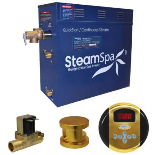SteamSpa Oasis 4.5kW QuickStart Steam Bath Generator Package with Built-In Auto Drain in Polished G