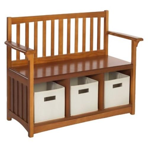 Kids Storage Bench with Bins - Walnut - Guidecraft