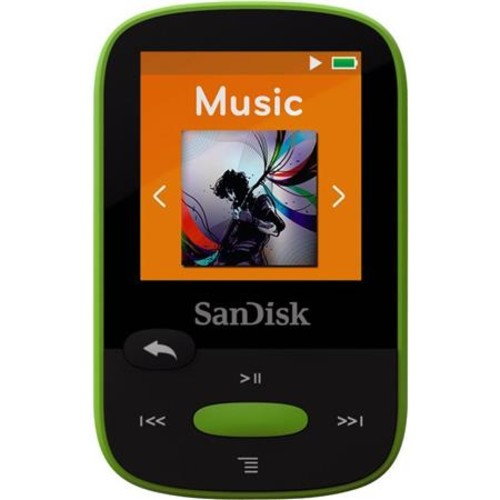 SanDisk 8GB Clip Sport MP3 Player, 1.44 LCD Display, Lime SDMX24-008G-A46L