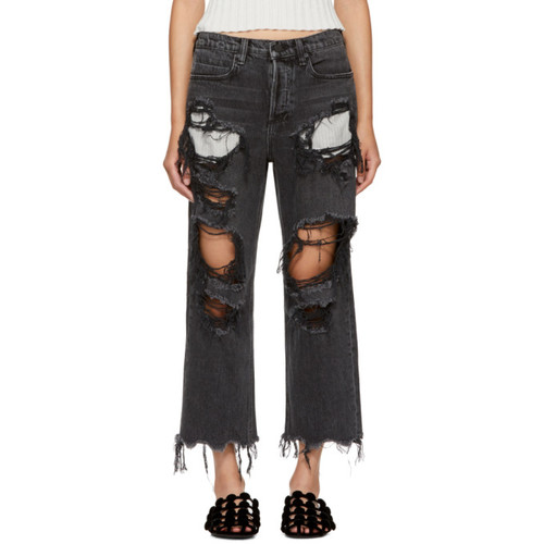 ALEXANDER WANG Grey Distressed Rival Jeans